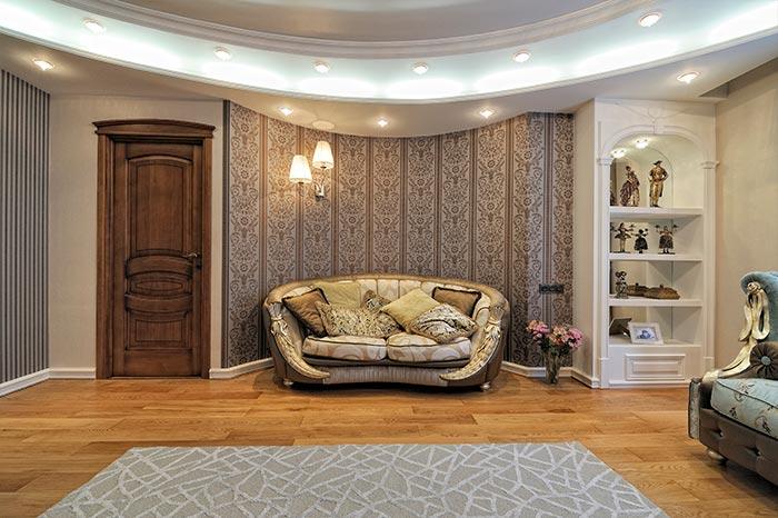 Реализация дизайн-проекта гостиной в классическом стиле