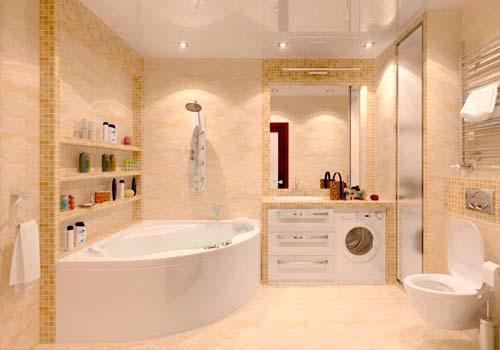 Помещение ванной комнаты давно не является местом только для принятия водных процедур. Стоя под утренним душем, вы бодритесь, получаете заряд энергии на предстоящий день. Вечерние водные процедуры, наоборот, расслабляют, их чаще принимают неспешно, в теплой воде с добавлением ароматических масел.  Ванная комната играет немалую роль в жизни каждого современного человека. В большинстве случаев этому помещению отводится немного места, поэтому так важно правильно спланировать и обустроить его, чтобы обеспечить максимальный комфорт от водных процедур.  Что же нужно знать для грамотного проведения ремонта ванной комнаты?  Главные стадии планировки ванной  Многие согласятся, что отделка ванной комнаты – процедура длительная и трудоёмкая. Чтобы в будущем не вспоминать о ремонте этого помещения несколько лет, нужно грамотно продумать планировку.  Для этого нужно:  · Замерить помещение.  · Разместить на плане все коммуникации.  · Следует предполагать возможное присоединение санузла к ванной. Это позволит значительно увеличить полезную площадь помещения.  · Составить перечень нужного оборудования: определиться, ванная, либо душевая кабина будет размещаться в помещении, отметить месторасположение стиральной машины, будет ли установлено биде и т.д.  · Определиться, будет ли осуществляться перенос коммуникаций.  Можно заказать дизайн-проект квартиры с различными вариантами санузлов и подобрать наиболее приемлемый.  Зонирование помещения для принятия ванны  Для повышения функциональности ванной комнаты специалисты по созданию современного дизайна интерьера 2019 активно применяют зонирование: делят помещение на зоны, зависящие от их предназначения.  Ванная комната делится чаще на 3 зоны:  · Зона для принятия ванны (сама ванна или душевая кабина, раковина)  · Зона для хозяйственных целей (стиральная машина, шкафчики для хранения вещей).  · Зона для естественных нужд и гигиены (унитаз, биде).  К дизайнерским приемам зонирования относится выделение каждой зоны цветом, либо различными 